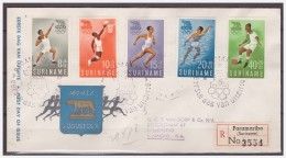 Surinam / Suriname 1960 FDC 16-1M Soccer Basketball Swimming Running Olympic Rome - Suriname ... - 1975