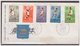 Surinam / Suriname 1960 FDC 16-1M Soccer Basketball Swimming Running Olympic Rome - Surinam ... - 1975