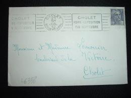 LETTRE TP GANDON 5F OBL.MEC.21 JUIL 52 CHOLET (49 MAINE ET LOIRE) FOIRE EXPOSITION FIN SEPTEMBRE - Marcophilie (Lettres)