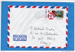 MARCOPHILIE-lettre- ST Pierre Et Miquelon -cad 1987+ Flamme Traversée Lorient SPM -stamps-N°483 Noel 87 -pour Françe - Lettres & Documents