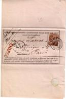 """FRANCE : N° 67 . TYPE SAGE . SUR AVIS DE RECEPTION . DE """" PARIS """" . PLACE DE LA MADELEINE .  . TB . 1877 . - Marcophilie (Lettres)"""