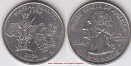 USA 25 Cents 2000 Massachusetts Km#305 - Used - Émissions Fédérales