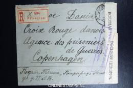 Russia Registered Cover 1916  Petrograd To The Red Cross Copenhague Denmark  Censor Opened