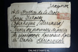 Russia Registered Cover 1915  Petrograd To The Red Cross Copenhague Denmark Wax Sealed