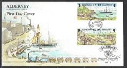 ALDERNEY - FDC Mi-Nr. 108 - 115 Historische Entwicklung Von Alderney - 2 Belege - Alderney