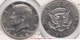 U.S.A. 50 Cents  Half Dollar 1968 (Kennedy - Silver) Km#202a - Used - Federal Issues