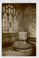 Guisborough Church, The Font, & Lady Pease Memorial Window. - England