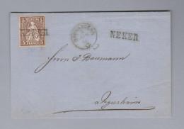Heimat Schweiz SG NEKER Langstempel 186?-04-04 Brunnadern Brief Vorderseite Nach Degersheim - Lettres & Documents