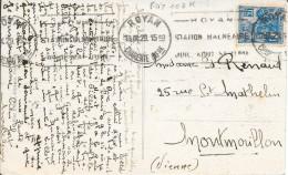 N° 257 I   FRANCE   + FLAMME ROYAN  N° ROY 102 K    (voir Description)  SUR CP 1929 - Postmark Collection (Covers)