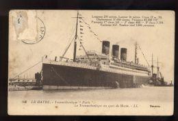 B1714 TRANSATLANTIQUE PARIS DANS LE PORT DE LE HAVRE - Chiatte, Barconi