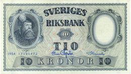 SWEDEN 10 KORONOR 1954 P-43b XF+ [ SE43b ] - Sweden