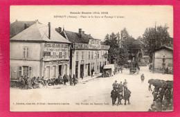 55 MEUSE REVIGNY, Place De La Gare Et Passage à Niveau, Animée, Commerces, Voiture, (A. Humbert) - Guerre 1914-18