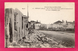 55 MEUSE REVIGNY, Guerre 14-18, Rue De Vitry (côté Ouest) Après Le Bombardement, 1918, (A. Humbert) - Guerra 1914-18