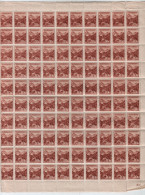 Slovaquie / Slovakia 1943 Serie Courante (sans Filigrane-1943) Yvert-43a-MNH Sheet (10x10)** - Ongebruikt