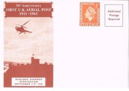 18624. Tarjeta Entero Postal 1/2 D. 50 Anniverary First U.K. AERIAL POST 1961 - 1952-.... (Elizabeth II)