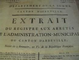 "RARE AFFICHE "" EXTRAIT REGISTRE ADMINISTRATION ABBEVILLE"" 1797 HOTELLERIE AUBERGISTE ETRANGERS REVOLUTION - Afiches"