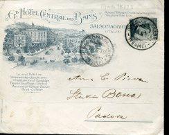10994 Italia,  Special Cover  Circuled  1910 Salsomaggiore Terme, Grand Hotel Central Des Bains - Termalismo
