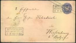 1864, MÜNCHEBERG R.B. FRANKFURT A.O. 2 SGr. Ganzsachenumschlag - Prusse