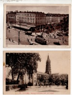 """31 - TOULOUSE . """" BASILIQUE SAINT-SERNIN """" & """" CARREFOUR JEAN JAURÈS """" . 2 CARTES POSTALES - Ref. N°16274 - - Toulouse"""