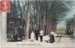CPA 77 - DONNEMARIE En MONTOIS - La Gare - Départ Du Tramway Pour Vimpelles - France