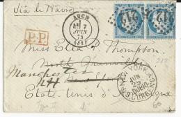 1874 - ENVELOPPE De AUCH (GERS) Pour NORTH GRANVILLE (USA) REEXPEDIEE à MANCHESTER - CACHET NEW YORK CURRENCY (DEVISES) - Storia Postale