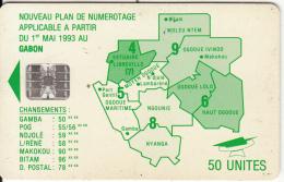 GABON - Green Map, Third Chip Isuue 50 Units(reverse B-no Moreno Logo), Chip SC7, Used - Gabon