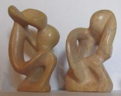 Art Moderne Côte D'Ivoire, Deux Personnages En Pierre Polie - Art Africain