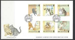 ALDERNEY - FDC Mi-Nr. 94 - 99 Katzen - Alderney