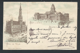 CPA - BRUXELLES - BRUSSEL - Fantaisie Style Gruss - Litho Dietrich - 1889 - Rare - Cachet Sur Timbre Perforé - RRR ! // - Bruxelles-ville