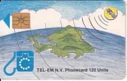 SAINT MARTIN - Island & Satellite(120 Units, Transparent Logo), Chip GEM1, Used - Antilles (Netherlands)