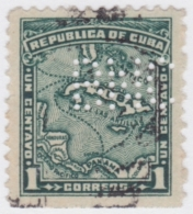 """1917-295 CUBA REPUBLICA. 1914. Ed.195. MAPA DE CUBA. PERFINS """"BNC"""" BANCO NACIONAL DE CUBA. - Kuba"""