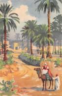 """05878  """"LIBIA - OASI DI TRIPOLI - DA UN ACQUERELLO DI G. BONELLI"""" CART. ILL. ORIG. NON SPEDITA - Libia"""