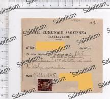(*) 1945 CASTELVERDE Erinnofilia Marca Da Bollo Regno Fascismo Sovrastampata Fine 2° Guerra Mondiale - Dopoguerra Latte - Italia