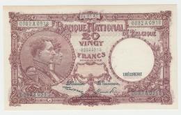 Belgium 20 Francs 1947 AUNC Banknote Pick 111 - [ 2] 1831-... : Belgian Kingdom