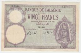 "Algeria 20 Francs 30-1- 1942 ""F++"" Banknote Pick 78c 78 C - Algeria"