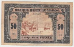 MOROCCO 50 FRANCS 1-8- 1943 AVF Pick 26 - Maroc