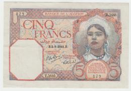 Algeria 5 Francs 1941 VF++ CRISP Banknote Pick 77b 77 B - Algeria