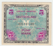 GERMANY ALLEMAGNE 5 MARK 1944 VF++ Pick 193a 193 A - [ 5] 1945-1949 : Allies Occupation