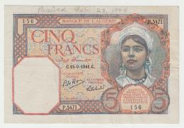 """Algeria 5 Francs 1941 """"F+"""" Pick 77b 77 B - Algeria"""