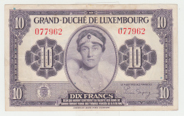 LUXEMBOURG 10 FRANCS 1944 VF+ Pick 44 - Luxembourg