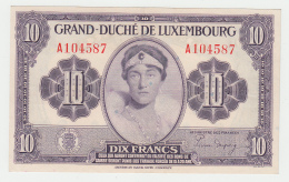 LUXEMBOURG 10 FRANCS 1944 AXF Pick 44 - Luxembourg