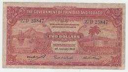 """Trinidad & Tobago 2 Dollars 1943 """"aF"""" Pick 8 - Trinidad & Tobago"""
