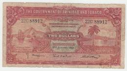 Trinidad & Tobago 2 Dollars 1939 VG Banknote Pick 6b  6 B - Trinidad & Tobago