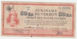 "Suriname 50 Cents 1940 ""F"" Pick 104a  104 A - Suriname"