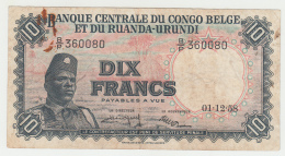 Belgian Congo 10 Francs 1958 VF Banknote Pick 30b  30 B - [ 5] Belgisch Kongo