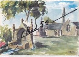 LANDREVARZEC (29)La Chapelle De St. Vénec,la Calvaire Et La Fontaine Sacrée,Aquarelle Signée J.Suain. - Unclassified