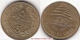 LIBANO 5 PIASTRES 1972 (rosette Below Knot) KM#25.2 - Used - Libano