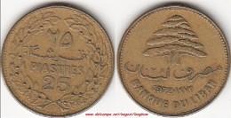 LIBANO 25 PIASTRES 1972 (old 25) KM#27.1 - Used - Libano