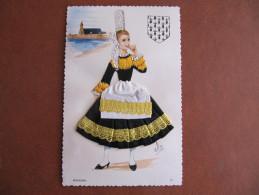 Carte Brodée - ELSI - BIGOUDEN - Format : 14 X 9 Cm - Embroidered