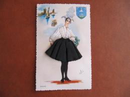 Carte Brodée - ELSI - SABLAISE - Format : 14 X 9 Cm - Embroidered